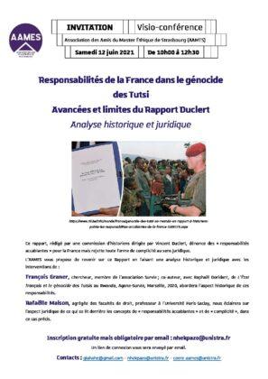 Responsabilité de la France dans le génocide des Tutsi. Avancées et limites du Rapport Duclert. Analyse historique et juridique